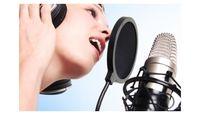 Woman-recording-microphone-ear-phones