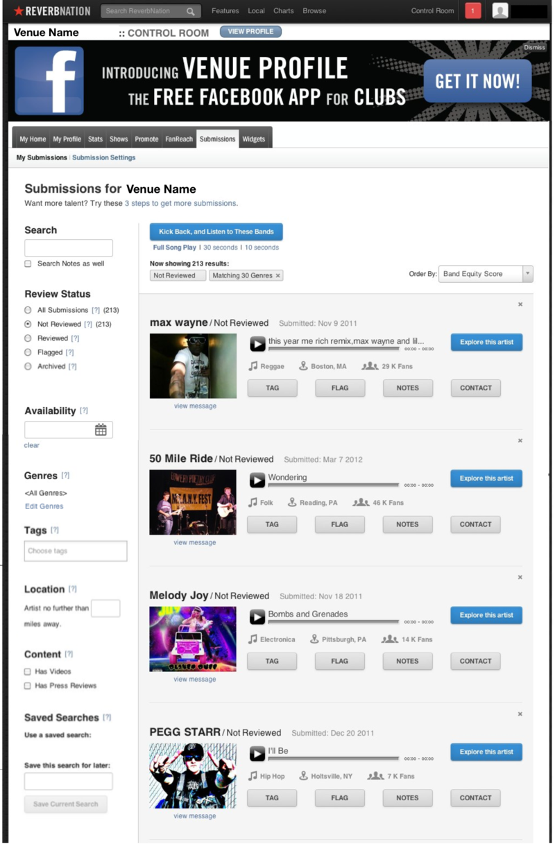 Venue-submissions-dashboard