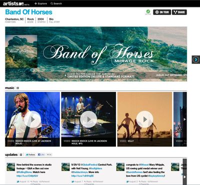 Claimed Artist Page- Band of Horses