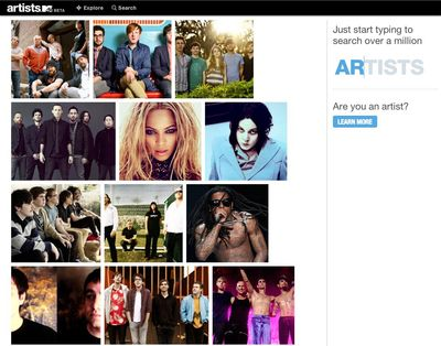 Artists.MTV homepage