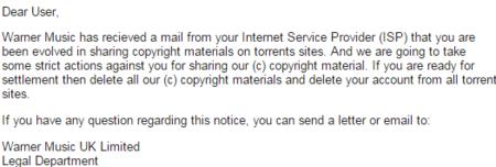 Warner email threat