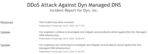Dyn  Inc. Status   DDoS Attack Against Dyn Managed DNS