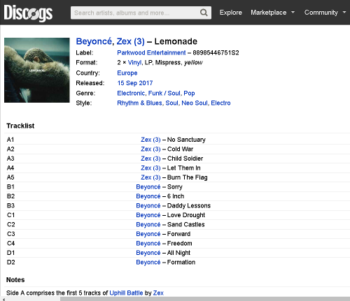 Beyoncé  Zex  3    Lemonade  Vinyl  LP  at Discogs