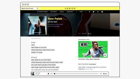 Apple Music player on Genius — desktop view