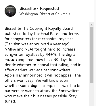 "David Israelite on Instagram  ""The Copyright Royalty Board published today the Final Rates and Terms for songwriters for mechanical royalties  Decision was announced a…"""