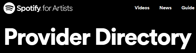 Provider Directory – Spotify for Artists